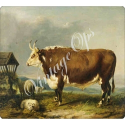 Sierra Valley Flour Sack Towel | Hereford Bull with Sheep by James Ware