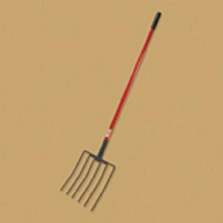 Bully Tools Manure/Mulch Fork - 6 Tines Fiberglass Long Handle