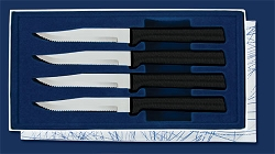 Sierra Valley Four Serrated Steak Knives Gift Set (Black Handle)
