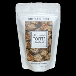 TOFFEE BOUTIQUE DARK CHOCOLATE TOFFEE, 8 OUNCE BAG