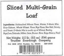 Truckee Sourdough Thick  Sliced Multigrain Loaf Free shipping