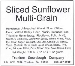 Truckee Sourdough Sliced Sunflower Multigrain Loaf Free shipping