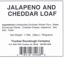 Truckee Sourdough Sliced Jalapeno Cheddar Cheese  Sandwich  Loaf  Free shipping