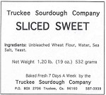 Truckee Sourdough Sweet Sliced  Loaf  Free shipping