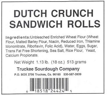 "Truckee Sourdough 6"" Dutch Crunch Sandwich Roll 5-Pack FREE SHIPPING"