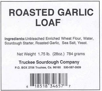 Truckee Sourdough Sliced Roasted Garlic Loaf Free shipping