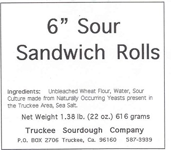 "Truckee Sourdough 6"" Sourdough Sandwich Rolls 5-Pack FREE SHIPPING"