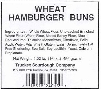 "Truckee Sourdough 5"" Wheat  Hamburger Bun-5 Pack FREE SHIPPING"